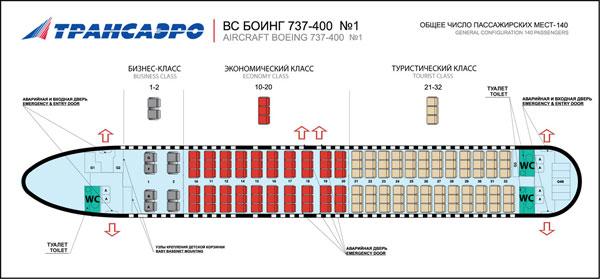 Лучшие места в самолете Boeing 737-400 - Трансаэро.