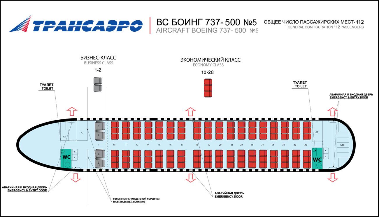 b Лучшие места в самолете /b Boeing 737-500.
