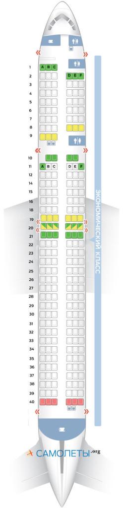 Схема салона Boeing 757-200 ВИМ Airlines