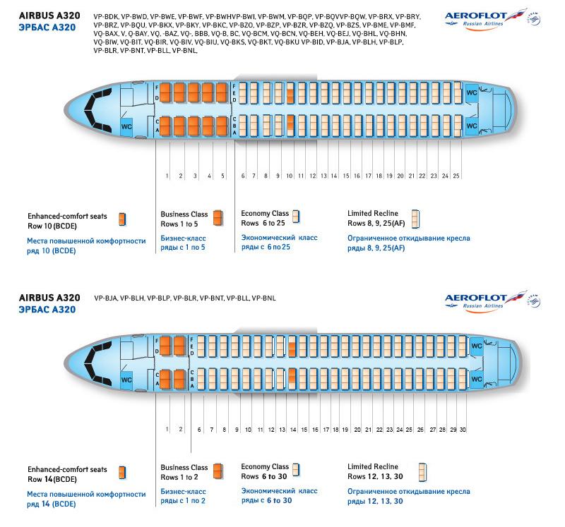 Лучшие места в самолете Airbus A320 (Эйрбас А320) - Аэрофлот