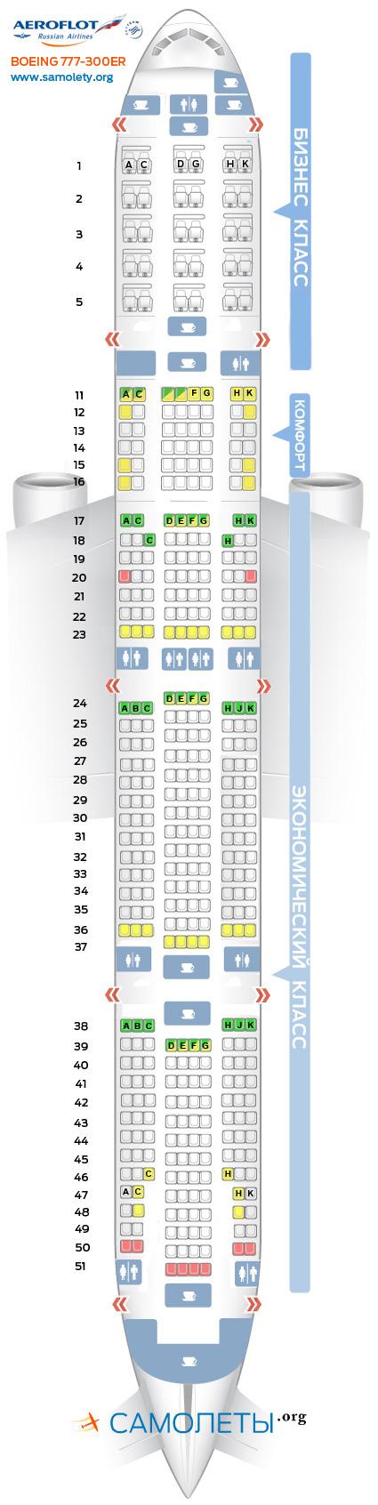 Схема салона Boeing 777-300ER Аэрофлот