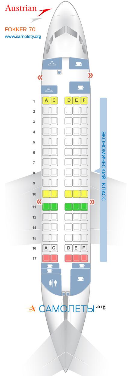 Схема салона Fokker 70 Austrian Airlines
