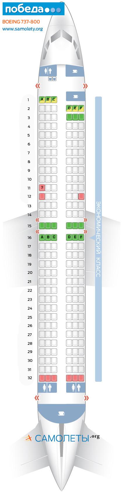 Схема салона Boeing 737-800 - Победа. Лучшие места в самолете