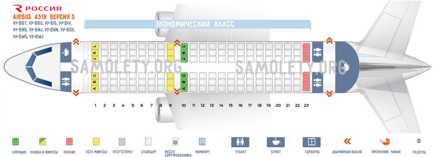 """Одно-классовая версия Airbus A319 """"Россия"""""""