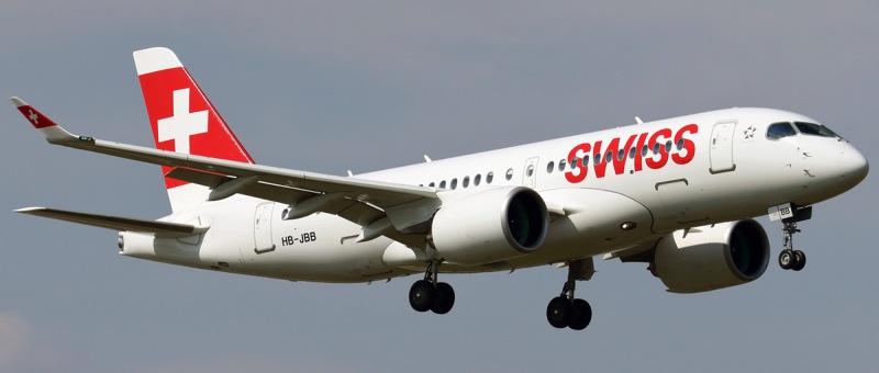 Авиакомпания SWISS поставила на рейс в Москву новый Bombardier CS100