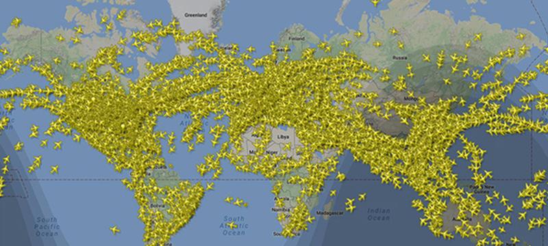 В небе зарегистрировано рекордное количество самолетов