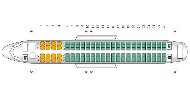 Расположение мест в салоне Airbus A320