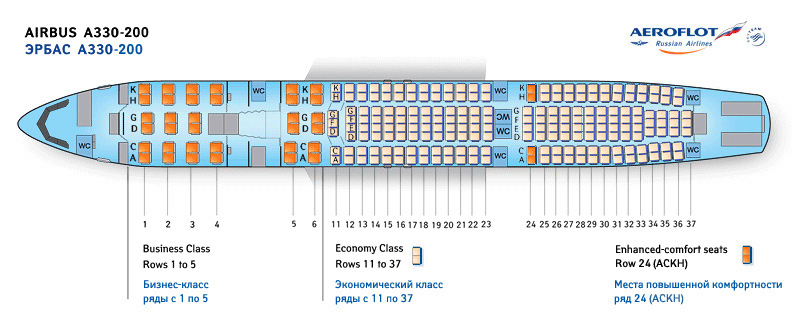 Лучшие места на Эйрбас А330-200