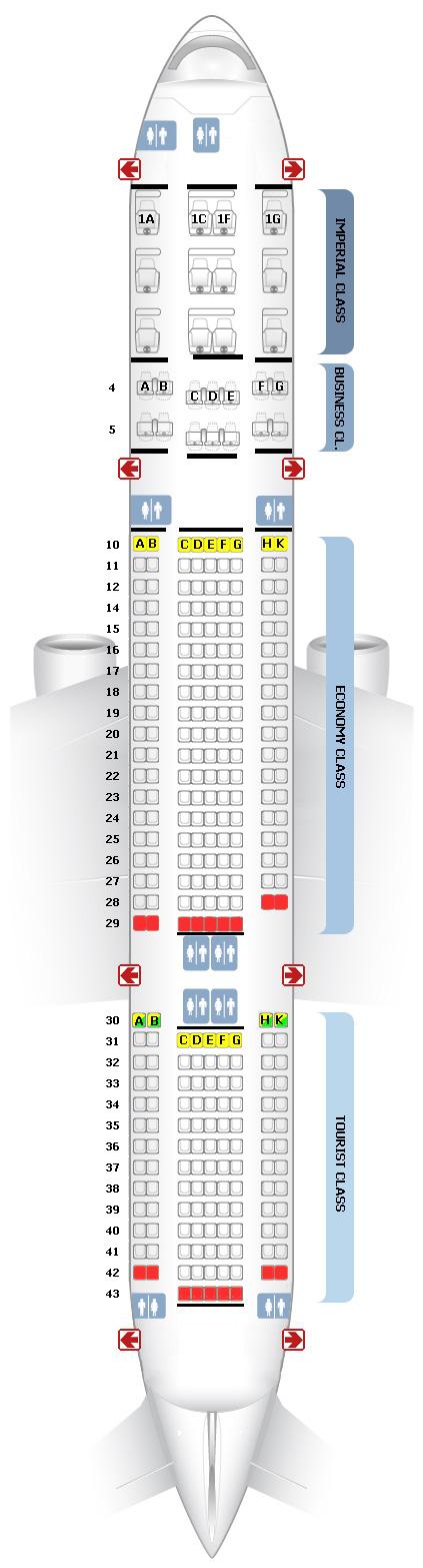 Схема салона и расположение мест B777-200 Трансаэро