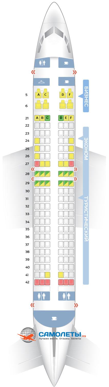 Схема салона и расположение мест Transaero Boeing 737-400