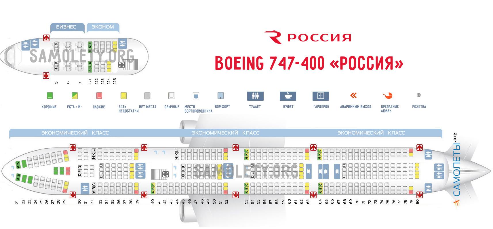 Схема салона Boeing 747-400 авиакомпании Россия