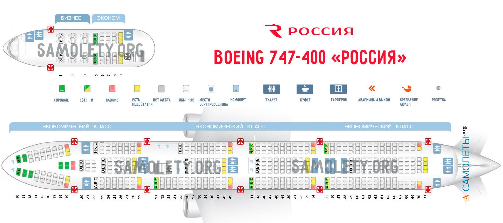 Схема самолета Boeing 747-400 авиакомпании Россия